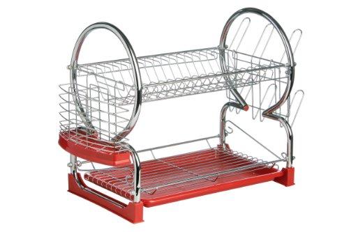 Premier Housewares 0509586 Egouttoir à Vaisselle de 2 Niveaux Plastique Rouge