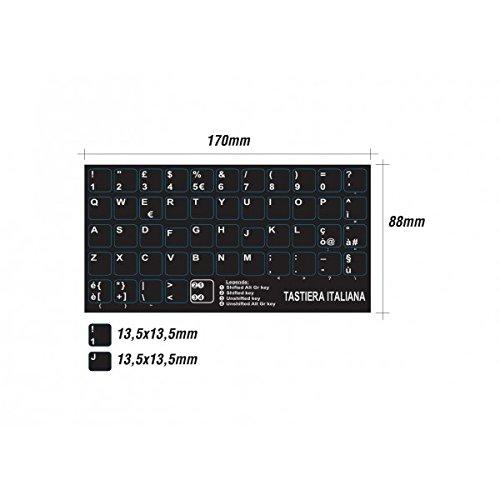 AdesiviTastiera.it - Adesivi lettere tastiera Italiano fondo nero lettere bianche tasti grandi 13,5mm x 13,5mm