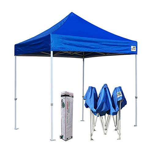 Eurmax 8x8 Feet Ez Pop up Canopy, Outdoor Canopies Instant Party Tent, Sport Canopy Bonus Roller Bag (Blue)