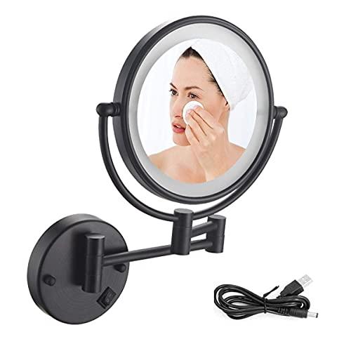 NHLBD LIHAIHAI Beautiful Fashion 8 Pulgadas con magnificación 10x y Espejo de tocador de luz LED, rotación giratoria de 360 Grados con Vista Libre de distorsión (Size : 10X)