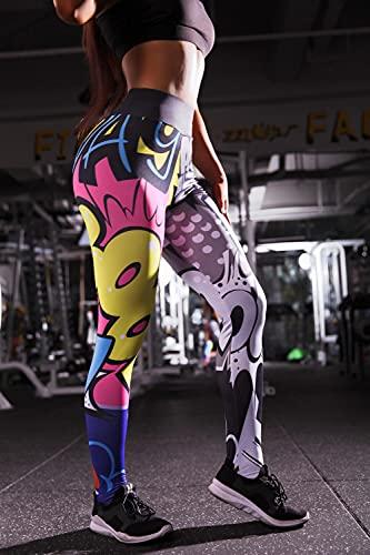 ArcherWlh Leggings Push Up Mujer,Pantalones de Yoga de Alta calefacción de Individualidad Impresos 3D, Leggings-Vistoso_S