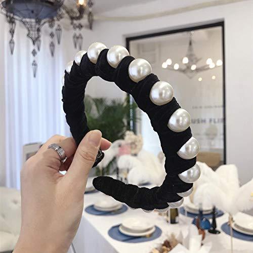 Turbantes Headband Diademas para Mujer Turbantes Nuevos Accesorios para El Cabello con Perlas Completas, Diadema De Terc