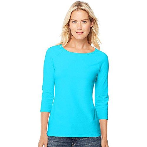 Hanes Women's Stretch Cotton Raglan Sleeve Tee, Flying Turquoise, Medium