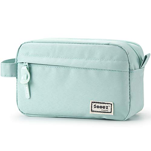 Sooez High Capacity Pencil Pen Case, Durable Pencil Bag Stationery Zipper Pencil Pouch, Portable Journaling Supplies with Easy Grip Handle & Loop, Asthetic Supply for Adults, Mint Green