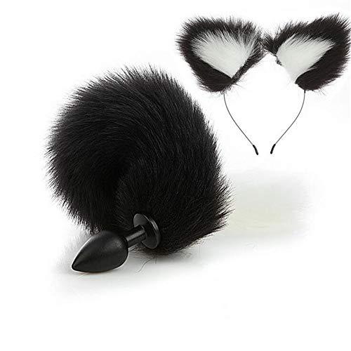 2 Stück Neuestes Fell Katzenohr Haarband Stirnband und Flauschiges Plüsch Silikon Faux Smooth Plùg Fox Tail Set