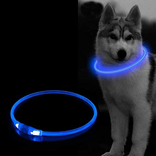 Leuchthalsband Hund, LED Hundehalsband 3 Modus USB Wiederaufladbar, Längenverstellbar Haustier Sicherheit Kragen Wasserdichtes für Hunde und Katzen