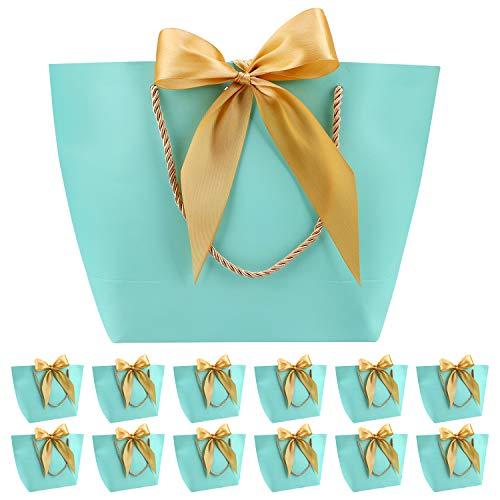 12 Bolsas de Regalo con Asa- Bolsas de Regalo de Papel con Cinta de Lazo, Elegantes Bolsas para Cumpleaños, Bodas, Graduaciones, Bolsas de Regalo de Bricolaje (Verde menta, 28x20x9cm)