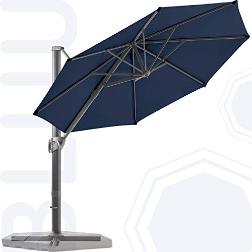 BLUU Redwood 11 FT Patio Umbrella Offset Cantilever Outdoor Umbrella Aluminum Market Hanging Umbrellas with 360° Rotation Device and Unlimited Tilting System & Cross Base (Navy Blue)