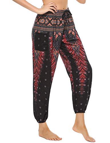 Doaraha Mujer Pantalones Harem Tailandes Hippies Boho Flores Bombachos Sueltos Yoga Pantalón Cintura Alta (Flor Rojo, XL)