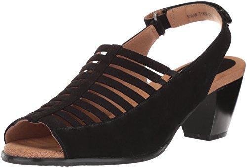 Trotters Women's Minnie Sandal, Black Nubuck, 6.0 M US