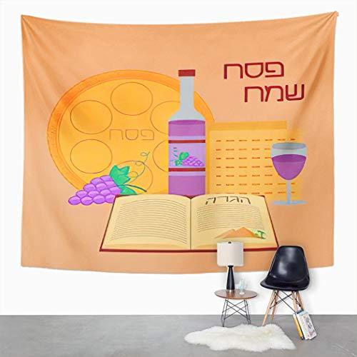 Y·JIANG Feliz pascua feliz, feliz pascua en hebreo Pesaj, Israel, celebrar cenador de casa, tapiz grande decorativo, manta para colgar en la pared para sala de estar, dormitorio, 152,4 x 127 cm