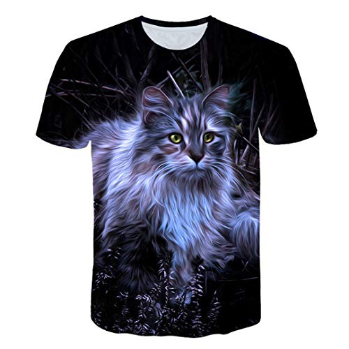 Boys T Shirts Short Sleeve Print T Shirts 100% Polyester Kids Popular Cute Cat Tops tee 226 10 ANS