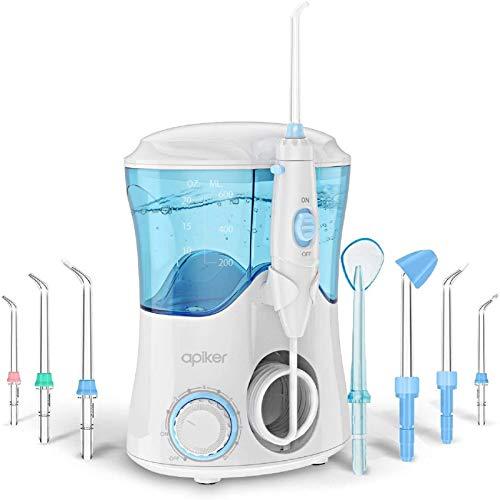 Idropulsore Dentale con 8 Beccucci Multifunzione, Apiker Irrigatore Orale da Capacità 600ml con 10 Impostazioni per la Pressione dell'Acqua, 20-150 psi, per Cura Famiglia e Cura Dentale (Bianco)