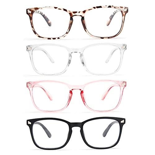 CCVOO 4 Pack Blue Light Blocking Reading Glasses, Anti Headache/Glare/Eye Strain Readers Computer Eyeglasses Women/Men (Light Black & Leopard & Clear Pink & Transparent, 1.0)