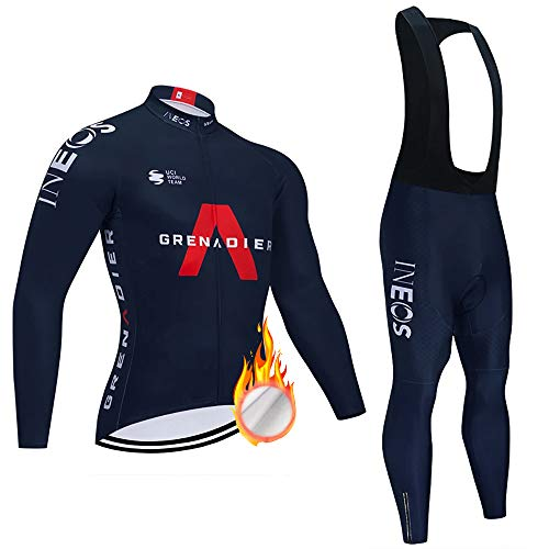 ZDFLC Completo Ciclismo Abbigliamento Set, Manica Lunga Antivento Ciclismo Maglia + 3D Lunga e Pantaloni per Uomo Inverno Termico Vello