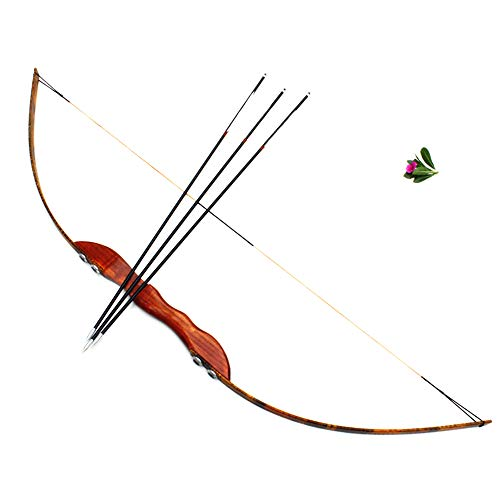 KOUPA Traditionelles Langbogen-Bogenschießset für Anfänger mit 3 Glasfaserpfeilen - Handgefertigter Holzbogen, kompakt abnehmbar - Indoor-Indoor-Schießspielzeug - 40 lbs