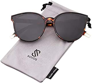 SOJOS Fashion Round Sunglasses for Women Men Oversized...
