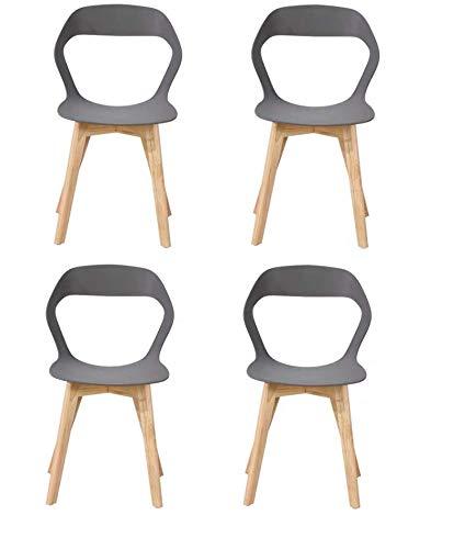 N/A conjunto de cuatro sillas de plástico modernas de estilo nórdico en una variedad de colores para uso en salones, comedores, oficinas, salas de reuniones y comedores (gris)