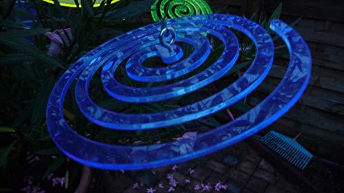 Tremex 3 x Sonnenfänger Spirale lumineszierendes Plexiglas BLAU mit Befestigung zum aufhängen Durchmesser ca.13cm
