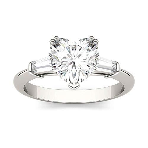 Charles & Colvard Forever One anello di fidanzamento - oro bianco con 14K - Moissanite da 8.0 mm con taglio a cuore, 2.168 kt, taglia 14