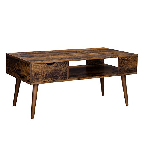 VASAGLE Coffee Table, Cocktail Table with Drawer and Open Storage Compartment, Long Legs, for Living Room, 39.4 x 19.7 x 17.7 Inches, Rustic Brown ULCT028X01