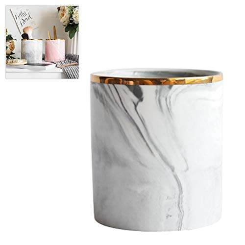 BovoYa Nordic Keramik Marmor Aufbewahrungseimer Make-up Pinsel Aufbewahrungsrohr Desktop Schreibwaren Stifthalter Haushalt Dekoration