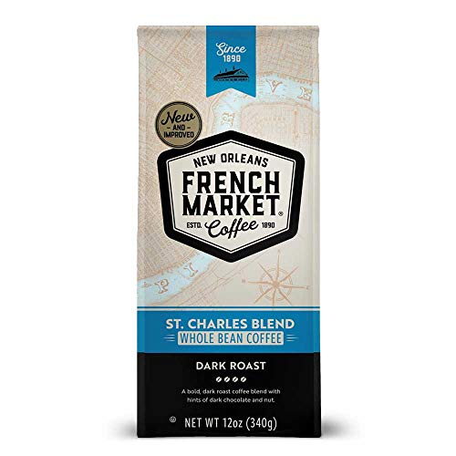French Market Coffee, St. Charles Blend, Dark Roast Whole Beans, 12 Ounce Bag