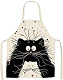 JFAN Karikatur Schürze Küchenschürze Für Damen Herren Katzen-Motiv Modische Aprons Lustige Schürze