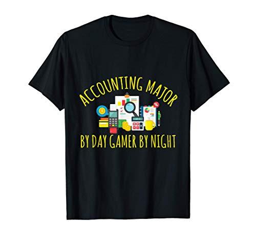 昼間は経理専攻 昼間はゲーマー 夜は会計士 Tシャツ