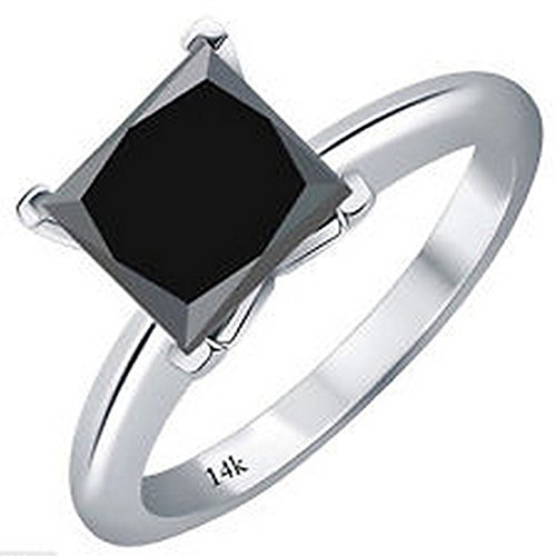 2 Carat 14K White Gold Princess Black Diamond Solitaire Ring (AAA Quality)