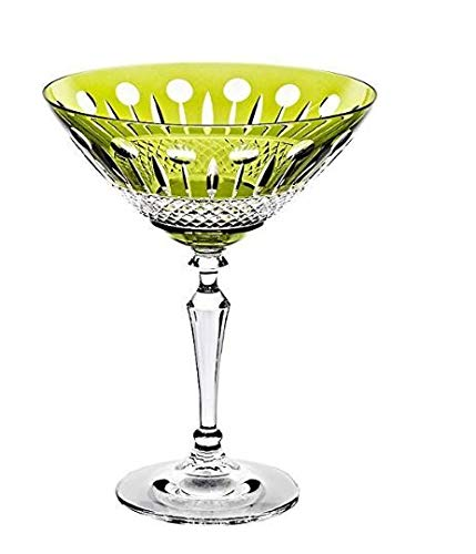 CRISTALICA Bol à Cocktail en Verre Martini Boissons Mixtes 150Ml Verre au Plomb Cristal Coupé Vert