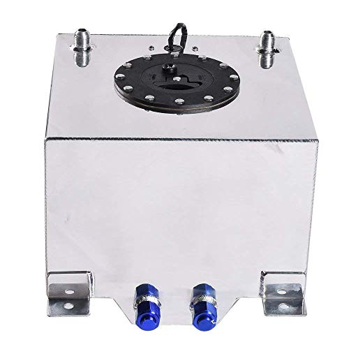 5 Gallon 20L Fuel Cell Polished Aluminum Gas Tank & Sender Hot Rod Rat Rod V8 (Silver)