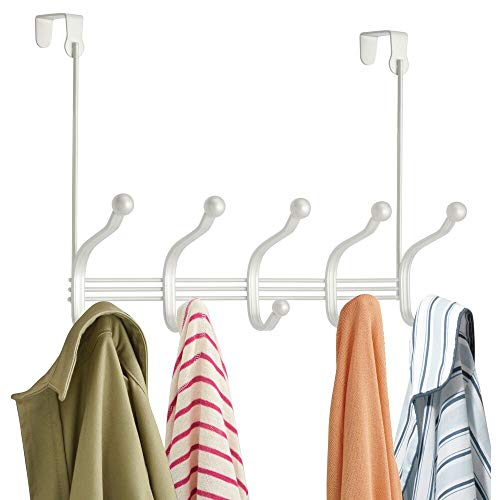 mDesign Decorative Over Door 10 Hook Metal Storage Organizer Rack for Coats Hoodies Hats Scarves Purses Leashes Bath Towels Robes Men and Womens Clothing - Pearl White