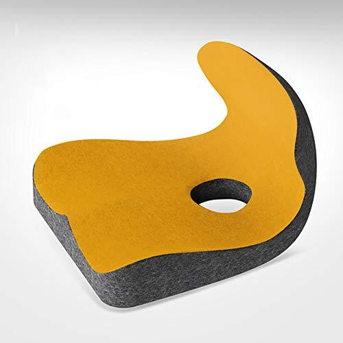 ZJZJ Comodidad Espuma De Memoria Cojín De Asiento,Ultra Suave Usable Cojinsillas,para Cóccix Y Alivio del Dolor del Nervio Ciático,Silla De Oficina Coche Seat Cushion Amarillo 44cm