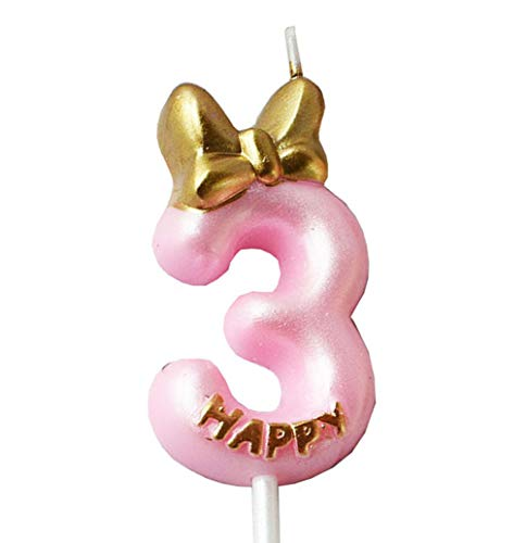 QQYL Gold 3 Candle Birthday Girl,Pink Third 3th Birthday Candle Girl for Cake Topper, Number 3 Cake Topper Gold, 3th Birthday Party Decoration for Three 3 Year Old Party Cake Candle (Style7, Number 3)