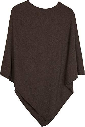 styleBREAKER Damen Feinstrick Poncho in Unifarben, leicht asymmetrischer Schnitt, Ärmellos, Rundhals 08010042, Farbe:Dunkelbraun