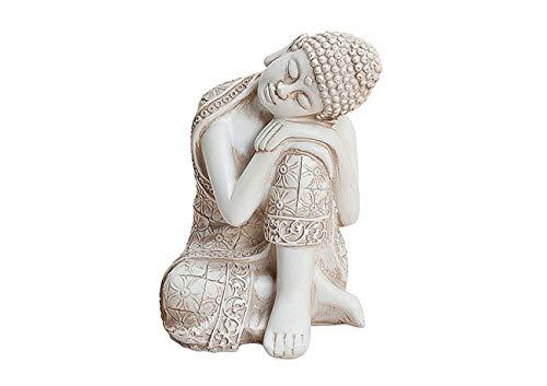 Brillibrum Design Buddha Skulptur Elfenbein farbend Thai Buddha Figur ruhend sitzend Kleiner Buddha schlafend aus Polyresin