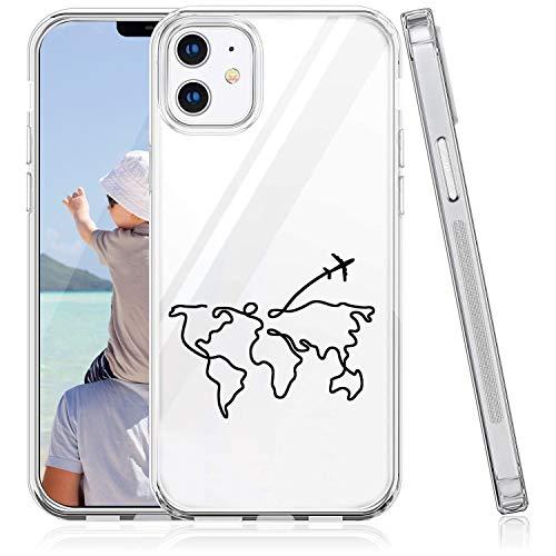 Suhctup Compatible con iPhone 12 Mini Funda Silicona Transparente con Dibujos Lindo Cárcasa Ultrafina Suave Gel TPU con Animados Diseño Patrón Antigolpes Proteccion Cover,Mapa