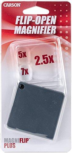 Carson Lupa de Bolsillo Plegable MagniFlip Plus, de 2.5x/5x/7x con Funda Integrada