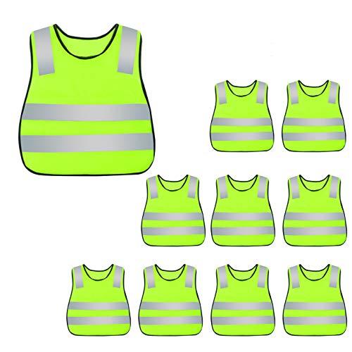 Chaleco de seguridad reflectante de alta visibilidad para niños, chaleco de tráfico, chaleco de construcción, chaleco de seguridad con correa elástica, chaleco de seguridad amarillo neón, para correr, ciclismo, correr, 10 unidades