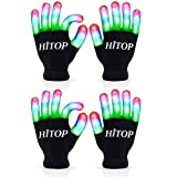 MAGIFIRE Flashing Led Gloves,Birthday Party Supplies Favors Gifts for Boys Girls Kids,Cool Stuff Toys for 4 5 6 7 Year Old Boys,Glow in The Dark New Year Eve Party Supplies 2020(Kids - 2 Pairs)