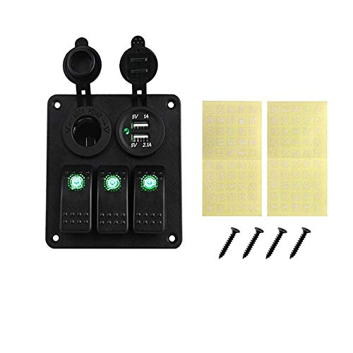 YFJLOVE YUFENGJIAO Interruptor LED 3 Banda Rocker Panel de zócalo de la Corriente 3.1A Dual USB cableado Kits y de la Etiqueta engomada Etiquetas de 12V CC 24V for Marine Barco del Coche