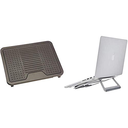 """AmazonBasics - Poggiapiedi & Supporto richiudibile in alluminio per PC portatili con display fino a 15"""", Argento"""