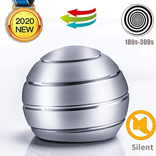 BOBOSOW Kinetic Desk Stress Relief Toy,Office Executive Metal Fidget Spinning Ball for Adults & Kids, Spinner Toys for ADHD & Eliminate Anxiety & Keep Focus & Relaxing (Silver)