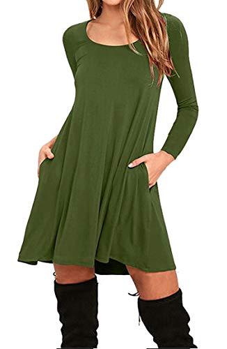 BOFETA Frauen Minikleid mit Taschen Langarm Tunika Casual T-Shirt Kleid Swing Kleid Army Grün M