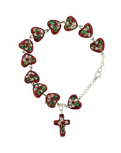 Ferrari Bracelet Chapelet avec 11 Perles en Forme de Coeur de Ø 5 mm en cloisonné - Couleur Rouge