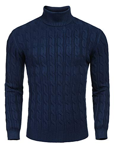 COOFANDY Herren Pullover mit Rollkragen feinstrick Langarmshirt dunkelblau