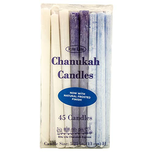 Rite Lite Judaica Chanukah Candles for Menorah Set - 45 Deluxe Frosted Blue and White Hanukkah Candles (Soft Natural White Finish)