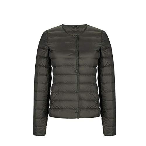Unbekannt Ultraleichte Daunenjacke für Damen, mattierter Stoff, leichte Jacke, für Frauen, schmal und ohne Kragen, leicht, Warmer Mantel Gr. XL, Schwarz
