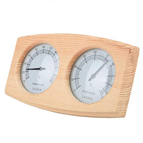 YARNOW Holz Sauna Thermometer Quadrattsich Sauna Raumausstattung Sauna Messgerät Temperatur Meter Sauna Zimmer für Saunaraumzubehör
